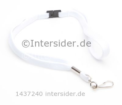 Lanyard 12mm flach mit metal Swivel Hook Break Away weiß 50 Stück