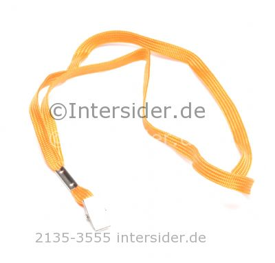Lanyard 2 flach 10 mm mit Bull Dog Clip Orange